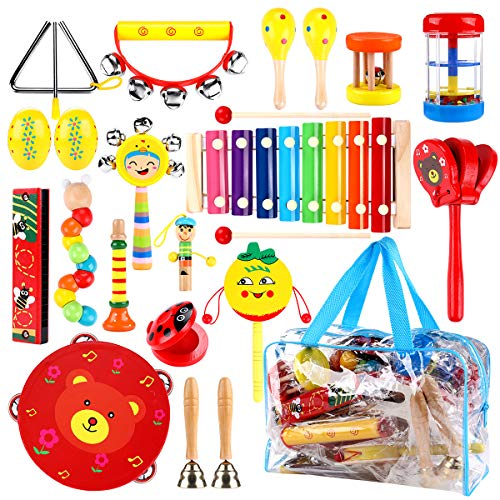ICETEK Toddlers Musical Instruments, 17 Different Types 23 PCS Kids Instrument Toys Wooden Percussion Tambourine Xylophone, Early Learning Musical Toys for Boys Girls with Storage Bag