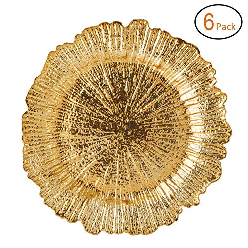 FANTASTIC :) Round 13 Inch Plastic Charger Plates with Eletroplating Finish (6, Reef Gold)