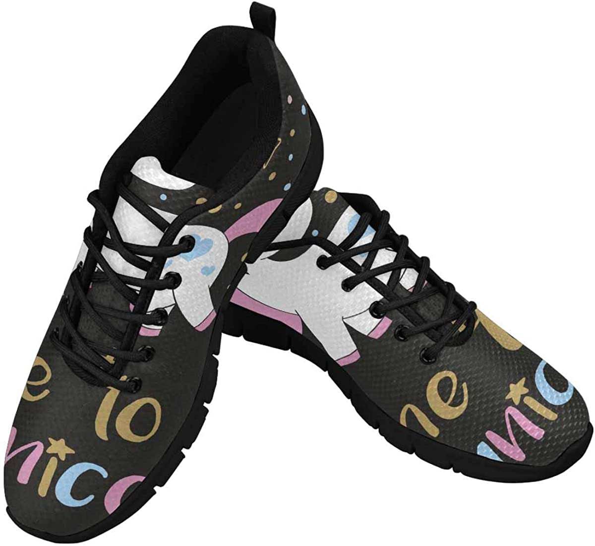 INTERESTPRINT Hand Lettering Time to Be a Unicorn Women's Walking Shoes Lightweight Casual Running Sneakers