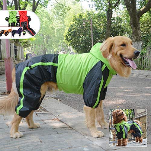 lovelonglong Hunde Regenmantel mit Hoodie, Atmungsaktive Regenjacke mit Vier Beinen im Freien Einstellbare wasserdichte Regenjacke für Kleine, Mittel, Große Hunde Green L-L