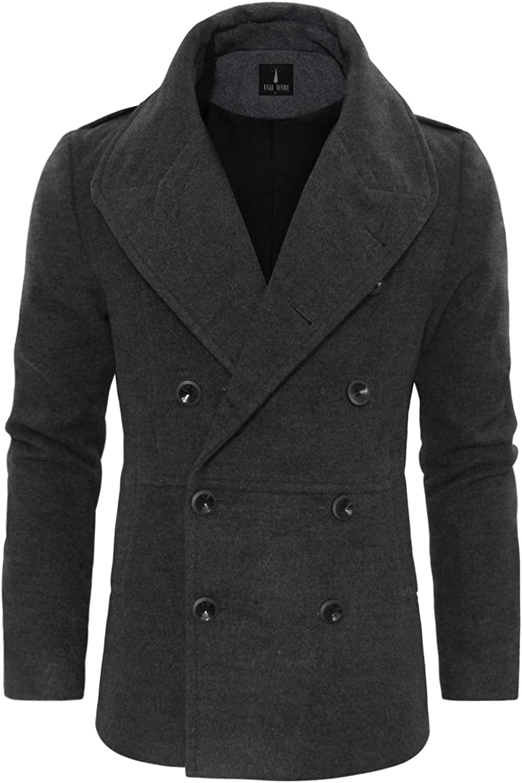 TAM WARE Men's Stylish Large Lapel Double Breasted Pea Coat