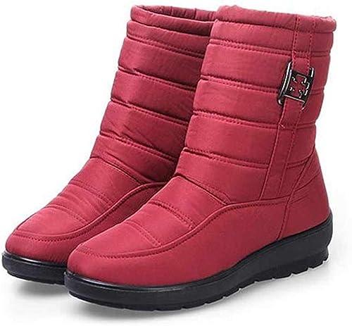 NAFTY zapatos De mujer botas de Nieve para mujer botas de Invierno acogedoras zapatos para mujeres Mantener el Dedo del pie rojoondo cálido con Cremallera botas para mujer zapatos de Talla Grande