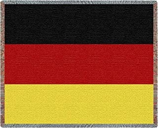 Pure Country Weavers German Flag Woven Throw Blanket with Fringe by Artisan Textile Mill USA 70x50 Cotton