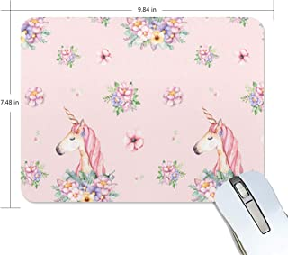 Mouse Pad Unicorns and Watercolor Flowers Gaming Mousepad Laptop Small Thick Mouse Mat Black Vintage Mouse Pads