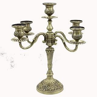 H36cm bronze floral carved 3 /5 arm metal candlesticks iron candle holder vintage bird cage candelabra for home decoration (5 branch bronze)