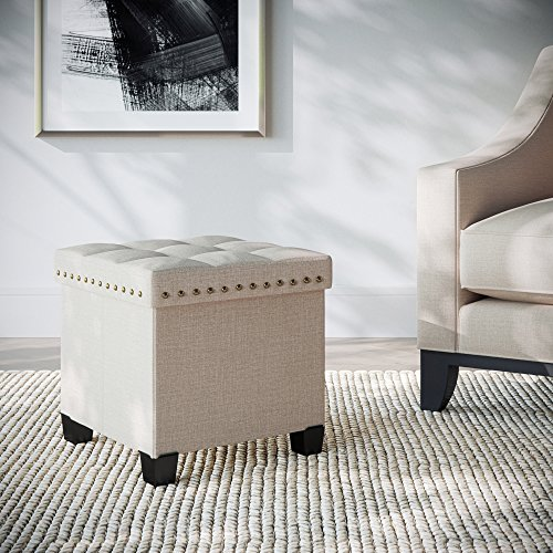 Nathan James Payton Foldable Storage Ottoman Footrest and Seat Cube, Beige