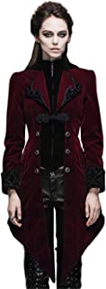 Gothic Vintage Long Swallowtail Coat for Women Steampunk Black Red Velvet Jackets Overcoats