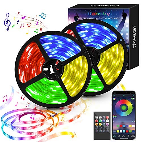 Led strip10M(2x5m), 5050RGB led lichterkette, Bluetooth Kontrolliert LED Streifen mit Fernbedienung Lichterschlauch, Wasserdicht Lichterkette für Raum, Fest, Party, Haus Deko [Energieklasse A+]