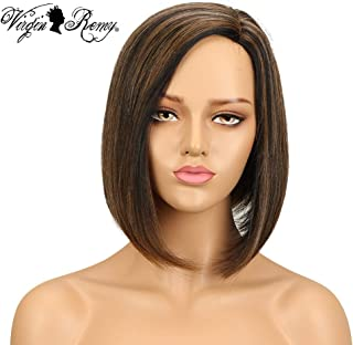 QVR Short Human Hair Wigs for Black Women 10 inch L Part Lace Front Wigs Brazilian Straight Hair Wigs 130% Full lace Wigs Ombre Color P1B/30