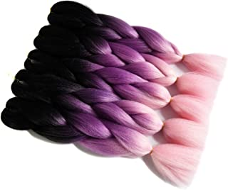 5 Packs/lot Three Tone Colored Black Purple Light Pink Heat Resistent Fiber Ombre Synthetic Kanekalon Braiding Hair Extension Jumbo Braids Hair Bulk