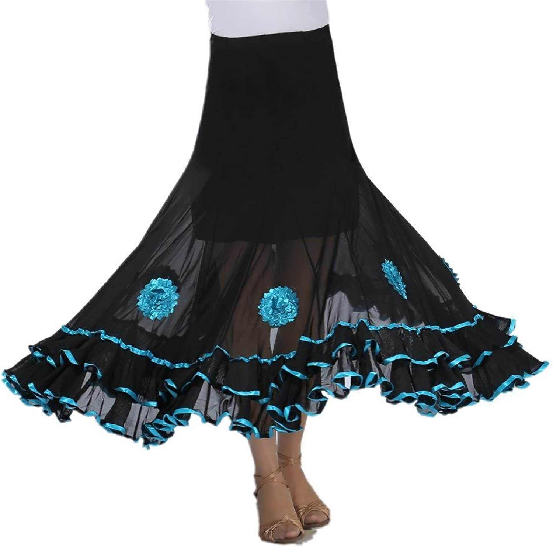 CISMARK Elegant Ballroom Dancing Latin Dance Party Long Swing Skirt