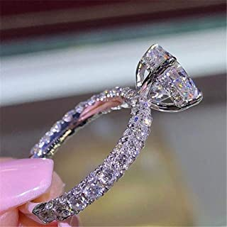 HYLJZ Anello Fashion Luxury Women Engagement Jewelry Silver Color Full Round Zircon Female Wedding Finger Ring