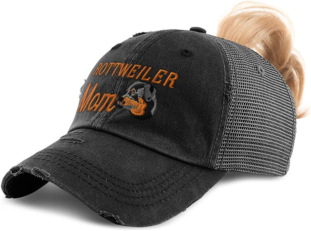 Custom Womens Ponytail Cap Rottweiler Mom A Embroidery Distressed Trucker Hats