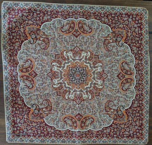 Colorful Paisley Burgundy Red Termeh Tablecloth - Elegant Decorative Persian Handmade Woven Floral Table Cover - 38x38