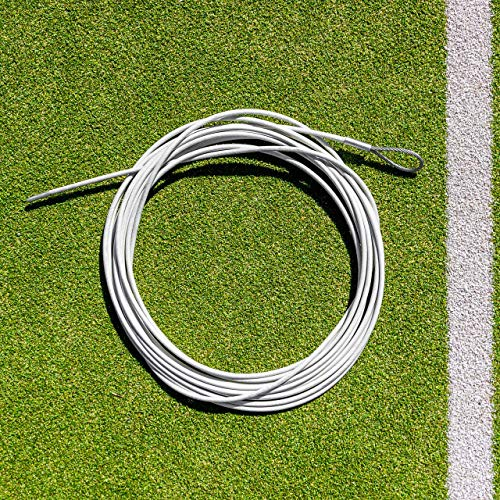 Vermont Tennis Net Headline Wire Cable [33ft or 42ft] | PVC Coated Steel Wire – All Tennis Posts (Loop & Pin, 42ft (Doubles))