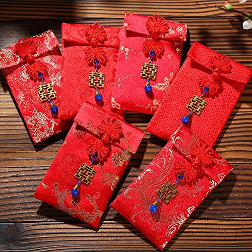 Kalaokei Chinesischen Stil Tuch Roten Umschlag Paket Geld Tasche Neujahr Hochzeitsgeschenk Für Geburtstagsfeiern, Hochzeitsdekoration, Fiesta, Feiertagsfeier Drache Phoenix