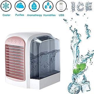 Cxefq Mini Enfriador de Aire, humidificador, Iones Mini-Negativos 3 Modos con 3 velocidades de Viento Purificador de Ventilador de Aire Acondicionado portátil USB, para Oficina hogar-Rosado