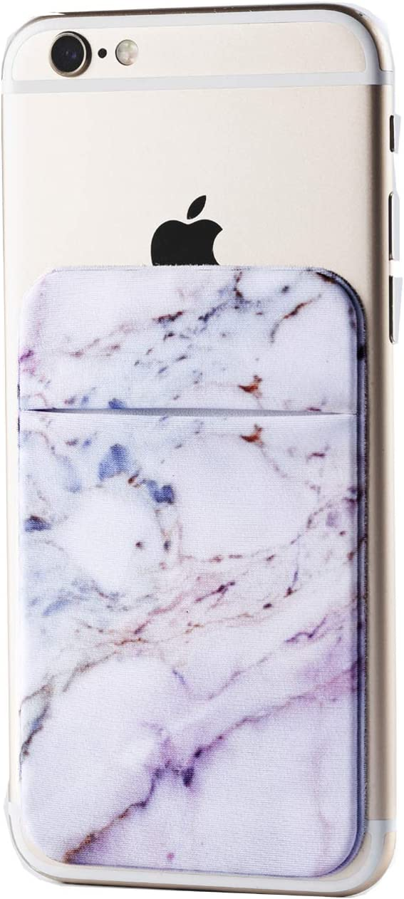 2Pack Marble Adhesive Phone Pocket,Cell Phone Stick On Card Wallet Sleeve,Credit Cards/ID Card Holder(Double Secure) with 3M Sticker for Back of iPhone,Android and All Smartphones-Purple