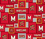 University of Maryland Fleece Blanket Fabric with New Patch Design-Sold by The Yard-SYKEL NCAA Fleece Fabric