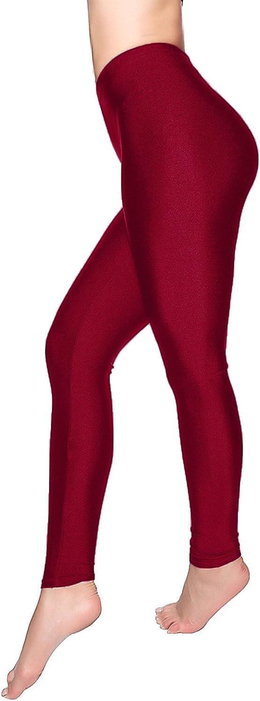 Womens Shiny High Waist Stretchy Disco Dance Ladies Leggings Pants Size 8-14