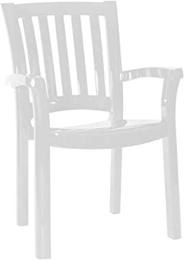 Compamia Sunshine Resin Patio Dining Arm Chair in White, Commercial Grade (Set of 4)