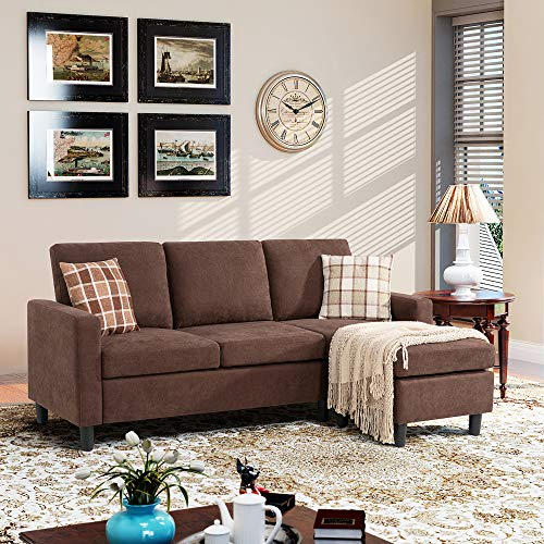 Walsunny Convertible Sectional Sofa Couch with Reversible Chaise L-Shaped Couch with Modern Linen Fabric for Small Space (Brown)