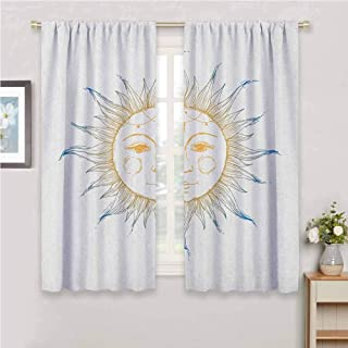 GUUVOR Sun Room Darkened Curtain Hand Drawn Ornamental Star Symbol with Face Tribal Aztec Inspired Illustration Insulated Room Bedroom Darkened Curtains W54 x L63 Inch Apricot Blue White