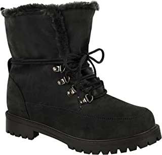 Fashion Thirsty Womens Faux Fur Grip Sole Lace Up Winter Ankle Boots Army Shoes