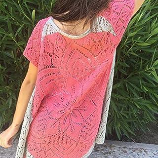 Chaqueta de verano de algodón, hecha a mano, color gris y rosa, talla S-M, para chica o mujer estilosa