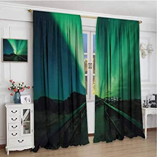 Paddy Benedict Decor Customized Curtains W84 x L84 Inch,Noise Reducing Curtain,Aurora Borealis,Wooden Bridge Solar Sky Scenic Radiant Rays Arctic Magic Scenery,Fern Green Dark Blue