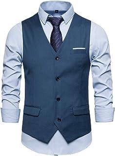 Men's Waistcoat Jacket Suit Vest V-Neck Sleeveless Blazer Western Solid Color Button Down Classic Slim Fit Tuxedo Tailcoat...