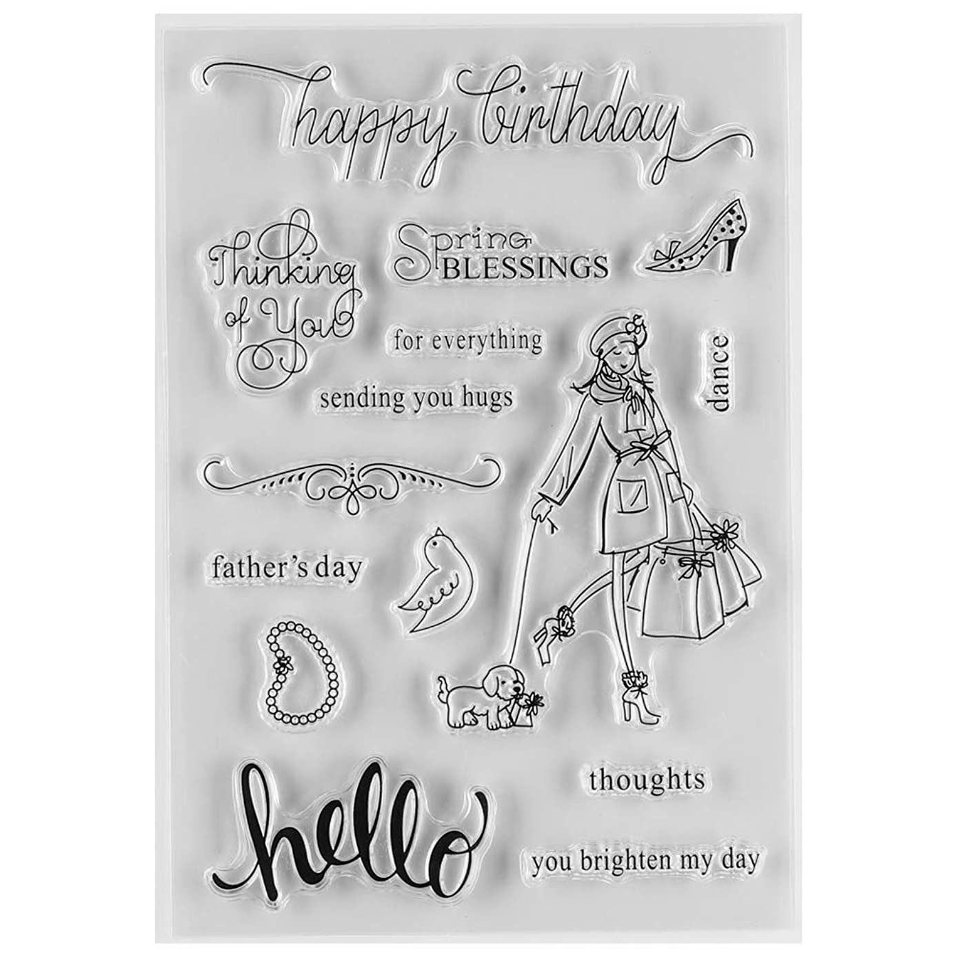 MaGuo Happy Birthday Sending You Hugs Words and Phrase Clear Rubber Stamps for DIY Scrapbooking Paper Craft or Card Making Decoration