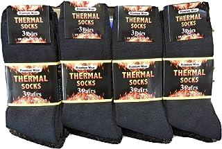 Premium Wear, 12 pares de calcetines térmicos para hombre, color negro,