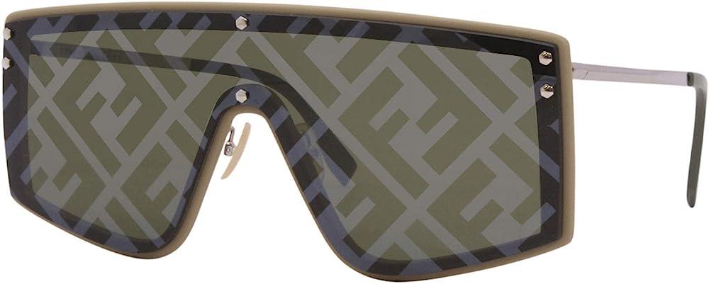 Fendi fabulous ff, occhiali da sole da uomo, forma a mascherina, la lente singola verde è decorata 203081