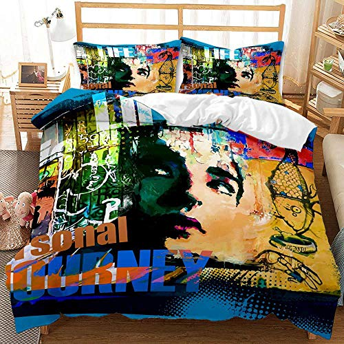 Juego de ropa de cama 3D de Graffiti Art Hip Hop Style de ropa de cama para adolescentes, 100 % microfibra, juego de cama para niños y jóvenes, hippie graffiti (A-04,220 x 260 cm (50 x 75 cm)