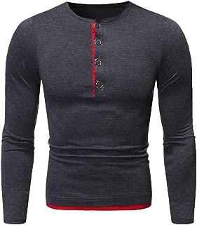 Men's Slim Fit T-Shirt Contrast Color Buttons Crewneck tTops Fashion Sweatshirt Fall Winter Bottoming Shirts