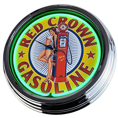 Neon Uhr Red Crown Gasoline Pin Up Wanduhr Deko-Uhr Leuchtuhr USA 50's Style Retro Neonuhr Esszimmer Küche Wohnzimmer Büro (Grün)
