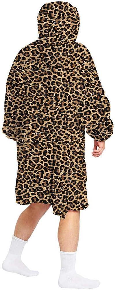 Polaire Pyjamas 1 Pièces Ciel Étoilé Impression Numérique Parent-Enfant des Deux Côtés Peuvent Porter Une Couverture en Laine De Vison Hiver Chaleur Épaisse Pull À Capuche Léopard