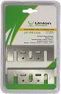 Union Pneumatics UP-PB1200 3-1/4 Inch (82mm) Resharpenable High-Speed Steel Planer Blades Replaces Makita D-17223, D-17217, 731001-4 D-46230 Bosch PA1204 PA1205 For Makita, DeWalt & Bosch Tools (2pcs)