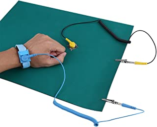 Electrostatic Discharge Protection Anti-Static Wrist Strap + Grounding Wire + Mat Set for Sensitive Electronics Working