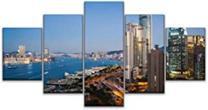 JOEJRTGRKADW Canvas Art Wall View of The Hong Kong Skyline Paintings Vintage Prints Home Decor Artworks Gift Ready to Hang for Living Room 5 Panels Large Size