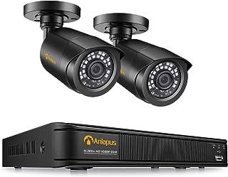 Anlapus 1080P Sistema de Vigilancia 4CH 2MP Videograbador DVR con 2pcs Cámara de Seguridad Exterior sin Disco Duro Visión Nocturna