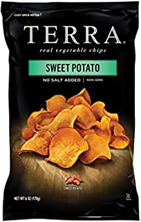 Terra Sweet Potato Vegetable Chips, No Salt Added, 6 Oz (Pack of 12)