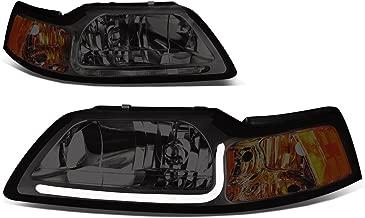 Pair Chrome Housing Smoked Lens Amber Corner LED DRL Headlight For Ford Mustang