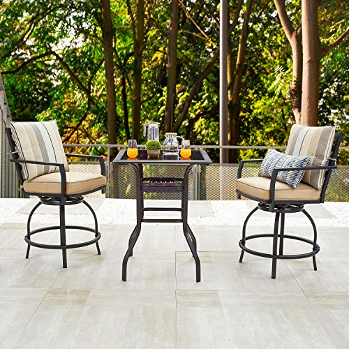 LOKATSE HOME Patio Bar Height Set with 2 Outdoor Swivel Chairs and 1 High Glass Top Table, 3 Piece Bistro, Beige