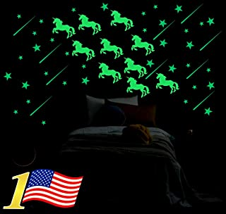 Ultra Bright Glow in The Dark Stars w/Bonus 10 pcs Glowing Unicorn Wall Decal Stickers - Amazing Luminous Set for Kids Room or Party, Birthday, Halloween, Christmas Gifts