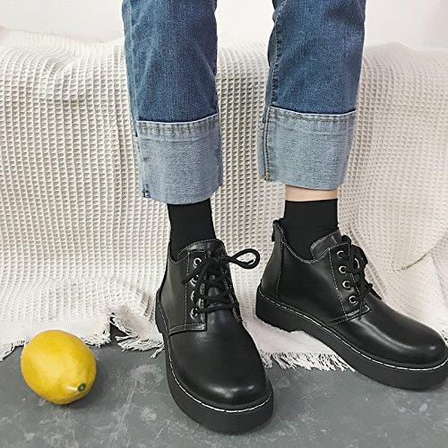 Shukun enkellaarsjes herfst en zomer hoog te helpen, pu retro eenvoudige zwarte kant Martin laarzen vrouwelijk