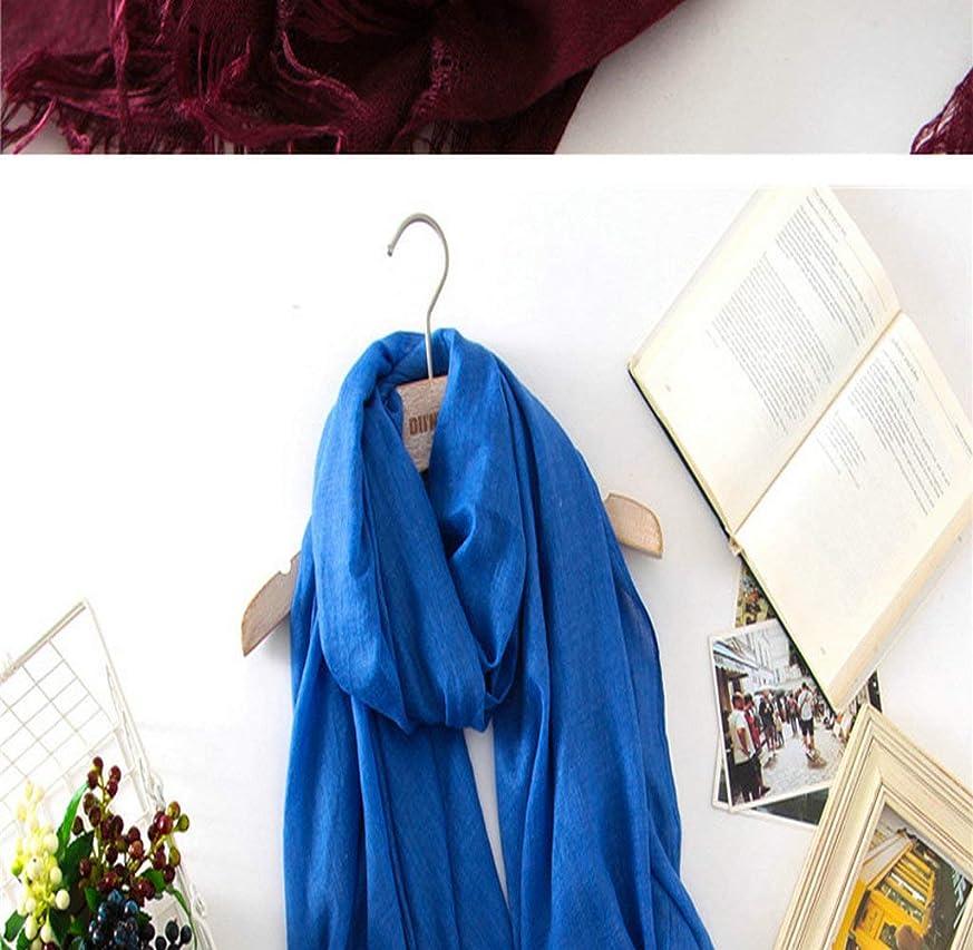 存在ばかげている意図的GUQQRZCT タイハン綿とリネンのスカーフ女性の秋と冬の長いセクション野生の春と秋の二重使用大きなショール女性2018新しい単色スカーフの韓国語版 (Color : Navy Blue, Size : One size)