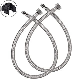 HOMEIDEAS 24-Inch Faucet Connector 3/8-Inch Female Compression Thread x M10 Male Braided Stainless Steel Supply Hose Connector Replacement Pack of 2(1 Pair)