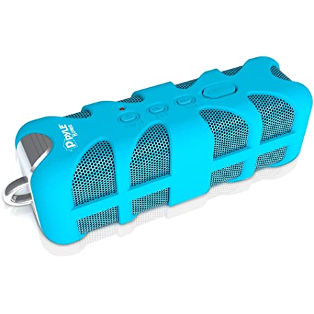 Portable Wireless Waterproof Outdoor Speaker - Bluetooth Compatible Rechargeable Battery Powered Shower Pool Loud Speaker System W/ AUX, USB Charger - MP3 Android iPod iPhone - Pyle PWPBTA70BL (Blue)